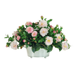 Winward Designs - Camellia Centerpiece Flower Arrangement - Why not give your brown thumb a break and invest in a permanent camellia centerpiece? You'll enjoy the look of freshly cut blooms all year long without ever worrying about watering, fertilizing or pruning. Just pick the perfect spot to show off this grand arrangement.