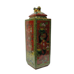 Golden Lotus - Chinese Handmade Square Column Orange Porcelain Jar - This is a handmade porcelain jar in square column shape. Each side has handpainted colorful graphic of flowers, fishes and birds. The lid is decorated with fu dog motif handle. ( two in stock, minor variation for hand made item )