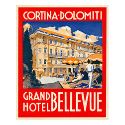 Cortina-Dolomiti, Grand Hotel Bellevue Print - Luggage label from the Cortina-Dolomiti, Grand Hotel Bellevue. I can not find this exact hotel today but here is travel info from the town in Italy