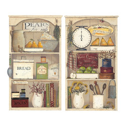 RoomMates - Country Kitchen Shelves Peel & Stick Giant Wall Decals - Make your kitchen into a comfortable country-themed nook with these peel & stick kitchen shelves. These wall decals can be applied to any smooth surface, and are removable and repositionable with no damage or residue. Stick them up in your kitchen to add a touch of country flair in just seconds!