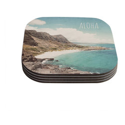 """Kess InHouse - Nastasia Cook """"Aloha"""" Mountain Beach Coasters (Set of 4) - Now you can drink in style with this KESS InHouse coaster set. This set of 4 coasters are made from a durable compressed wood material to endure daily use with a printed gloss seal that protects the artwork so you don't have to worry about your drink sweating and ruining the art. Give your guests something to ooo and ahhh over every time they pick up their drink. Perfect for gifts, weddings, showers, birthdays and just around the house, these KESS InHouse coasters will be the talk of any and all cocktail parties you throw."""
