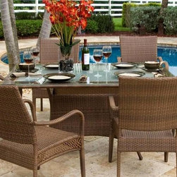 Hospitality Rattan - Grenada Patio Rectangular Dining Table in Ant - Made of Aluminum Frame w All Weather Viro Fiber Wicker. Available in Viro Antique Brown Finish or White Wash fiber. Includes tempered frosted glass with umbrella hole. Weather and UV resistant. Matching seating group and barstool available. Requires Assembly. Overall: 42 in. L x 62 in. W x 30 in. H (155 lbs.)The Grenada contemporary patio set has a fully anodized aluminum frame and woven Viro fiber, which gives this collection a unique textured surface. The Grenada collection does not require cushions. The collection also features frosted tempered glass on all its tables, along with the ability to accommodate an umbrella with the patio dining set. Cushions are optional and are not included.