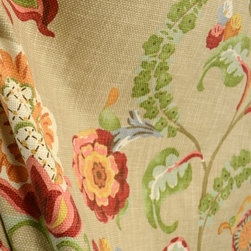 Kauf - Chic Mushroom Basket Weave Orange Green Brown Floral Fabric By The Yard - Kaufman fabric Chic in the color Mushroom is a vey vibrant floral fabric. Basket weave texture this cotton is great for window treatments, bedding, pillows and light upholstery.