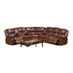 """Acme - 3-Piece Fullerton Power Motion Brown Bonded Leather Match Sectional - 3-Piece Fullerton power motion brown bonded leather match upholstered sectional sofa set with power recliners. This set includes the corner wedge and sofa and love seat with a brown bonded leather match upholstery with power motion reclining seats on the love seat and sofa with overstuffed arm rests. Sofa measures 83"""" x 37"""" x 38"""" H. Love seat with console measures 76"""" x 37"""" x 38"""" H. Wedge measures 64"""" x 35"""" x 38"""". Pieces can be switched from side to side to make one side longer or shorter. Optional single recliner also available separately and measures 36"""" x 37"""" x 38"""" H. Some assembly may be required."""