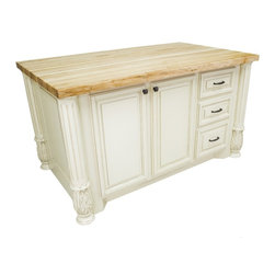 Lyn Design - Kitchen Island w 2 Doors - 1.75 in. maple butcher block top not included. Three drawers. Soft-close under mount slides and European hinges. Acanthus and fluted posts. Large cabinets for storage of pots and pans. FDA approved food-safe glues and finishing material. Made from MDF and hardwoods. Made in USA. 63 in. W x 38.5 in. D x 34.25 in. H. SpecificationsSealed with a proprietary blend of all-natural products designed to keep your island top looking ageless.