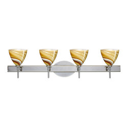 Besa Lighting - Besa Lighting 4SW-1779HN Mia 4 Light Reversible Halogen Bathroom Vanity Light - Mia has a classical bell shape that complements aesthetic, while also built for optimal illumination. This unique decor is handcrafted, with layered swirls of yellow-amber and golden-brown against white, finished to a high gloss. It's classic swirl pattern and high gloss surface has a truly florid gleam. Honey is a hand-blown glass designed to have a shiny and polished finish. The glass is gathered and rolled into shape a unique pattern is formed that cannot be replicated. This blown glass is handcrafted by a skilled artisan, utilizing century-old techniques passed down from generation to generation. Each piece of this decor has its own unique artistic nature that can be individually appreciated. The vanity fixture is equipped with decorative lamp holders, removable finials, linear rectangular housing, and a removable low profile oval canopy cover.Features: