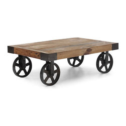 Zuo Modern - Zuo Barbary Coast Cart Table in Distressed Natural - Barbary Coast Cart Table in Distressed Natural by Zuo Modern An early 1900s industrial original once used to transport furniture, fabric and supplies across the factory floor. The cart is made from solid elm and the wheels are antiqued metal. Cart Table (1)