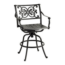 Ballard Designs - Amalfi Swivel Barstool - Coordinates with our Amalfi Outdoor Collection. Basic tan cushion included. Sand black finish resists rust and chipping. Extremely strong, yet light enough for easy placement. Assembly required. Sculpted curves lend our best-selling Amalfi Collection a refined, European elegance. This outdoor swivel barstool is crafted of extremely strong cast aluminum, so the details can be more ornate and finely rendered. The intricate basket weave seat swivels a full 360º.Amalfi Swivel Barstool features:. . . . . Replacement cushions available. Requires 1 replacement cushion per stool. Use of an outdoor furniture cover is recommended to extend the life of your piece.