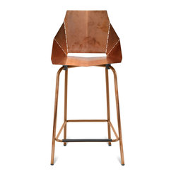 Blu Dot - Blu Dot Copper Real Good Counterstool - Outfit your space in showstopping style with this clever, copper-plated piece. It starts out folded flat, then opens up along laser-cut lines to create a chic, sturdy and seriously comfortable stool. Seating doesn't get more striking than this.