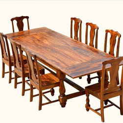 Rustic Solid Wood Dining Table & Chair Set Furniture w Extension -