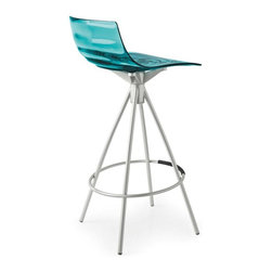 Calligaris - L'Eau Counter Stool, Transparent Aquamarine - Whether brilliantly colored or clear, the seat is the star of this stool. Curved artfully, it adds vibrancy and fun to your kitchen island, bar or pub table.