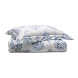 Everyday Luxury Paisley Printed Duvet - You'll be sure to have sweet dreams when you're ensconced in this crisp blue and white oversized paisley duvet cover. I'm currently coveting them for the days when I can put the heavy quilt away and lighten up my bedscape for summer.• 100% cotton oxford• Watercolor quality of the faded blue print evokes the texture of vintage block printing• Duvet cover has button closures; shams have envelope closuresPrice shown is for full/queen