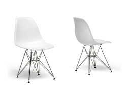 Baxton Studio - Baxton Studio White Plastic Side Chair Set of 2 - Many uses, in the home, office, cafe reception area, or training room. Clean, simple form sculpted to fit the body. Shells are recyclable polypropylene. Wire base are made from chromed steel. This chair features in white color option.