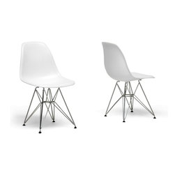 Baxton Studio - Baxton Studio White Plastic Side Chair Set of 2 - Many uses, in the home, office, cafe, reception area, or training room. Clean, simple form sculpted to fit the body. Shells are recyclable polypropylene. Wire base are made from chromed steel. This chair features in white color option.