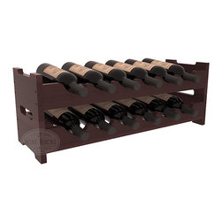 12 Bottle Mini Scalloped Wine Rack in Redwood with Walnut Stain + Satin Finish - Stack two 6 bottle scalloped racks for a decorative 12 bottle rack using pressure-fit dowels for easy assembly. Makes for a perfect gift and stores wine on any flat surface.