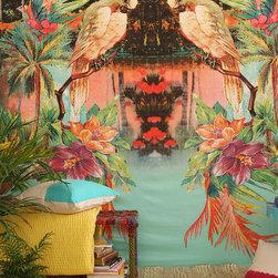 Magical Thinking Birds of Paradise Tapestry - This tropical tapestry can be hung on your wall, used as a bed coverlet or folded over your favorite chair. You can even use it as a beach or picnic blanket.