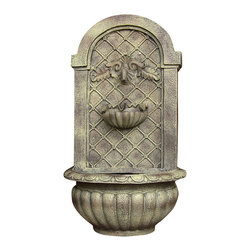 Sunnydaze Decor - Venetian Outdoor Solar On Demand Wall Fountain, Florentine Stone - Set in stone. This old-world wall fountain has a rechargeable battery that's powered by the sun. It has the look and feel of its stone counterparts without the high price tag. Place it on your patio, deck or backyard to bring a bit of the Italian countryside to your home.