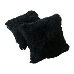 Curly Fur Imports - Tibetan Lamb Fur Pillows - Black (Set of 2) - Our world famous dreamy pillows made from 100% real soft and fluffy Tibetan lamb fur on one side of the pillows, backed with faux suede backing. All of our pillows are fully lined on both the front and back to provide stability and longevity. You can fill the pillows with a stuffing material or pillow of your choice. They add a touch of softness, beauty, and warmth to any room. The fur is over 3.5 inches long. All colors are professionally dyed. Tibetan lamb fur is a luxurious fur that is incredibly soft, silky and curly.