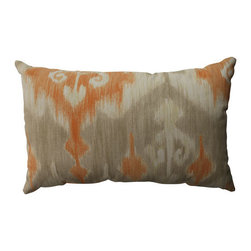 Pillow Perfect - Marlena Ikat Coral, Taupe, Beige Pillow - - Pillow Perfect Marlena Ikat Orange Rectangular Throw Pillow  - Sewn Seam Closure  - Spot Clean Only  - Finish/Color: Coral/Taupe/Beige  - Product Width: 18.5  - Product Depth: 11.5  - Product Height: 5  - Product Weight: 0.5  - Material Textile: 100% Cotton  - Material Fill: 100% Recycled Virgin Polyester Fill Pillow Perfect - 513171