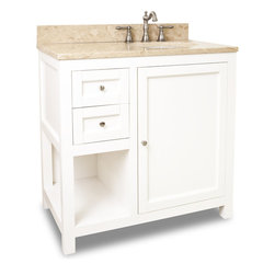 "Hardware Resources - 36"" Wide Solid Wood Vanity  VAN091-36-T - This 36"" wide solid wood vanity features clean lines with a stepped door and drawer profile for a modern look.  The Cream White finish is soft to complement most decor, yet bold enough to make a statement.  A large cabinet with an adjustable shelf, offset bank of fully functional drawers and open shelf provide ample storage.   Drawers are solid wood dovetailed drawer boxes fitted  with full extension soft close slides and cabinet features integrated soft close hinges .  This vanity has a 2.5CM engineered Emperador Light marble top preassembled with an H8810WH (17"" x 14"") bowl, cut for 8"" faucet spread, and corresponding 2CM x 4"" tall backsplash.   Overall Measurements: 36"" x 22"" x 36"" (measurements taken from the widest point) Finish: Cream White Material: Wood Style: Transitional Coordinating Mirror(s): MIR091-24, MIR091-30 Bowl: H8810WH Coordinating Hardware: 3915-SN"