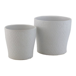 Selectives - Pride Decorative Planters, Set of 2 - These attractive planters pair wonderfully with any type of botanical elements, orchids, or plants due to the simplicity of its white color. Perfect for garden and outdoor/indoor decoration.