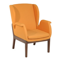 La Viola Decor - Relax Contemporary Armchair, Mustard - This uniquely designed Relax armchair is expertly crafted around a sturdy steel frame to make your sitting experience not only comforting and enjoyable, but also appealing. Designed with expert taste and modernist appeal this contemporary design of Relax armchair attract modern art lovers. This armchair is trendy and lively, and capable of inspiring your living space. With soft cushioning and masterfully crafted rectangular shapes of wooden frame, this armchair was expertly crafted to fit around your body to make your sitting experience relaxing and enjoyable.
