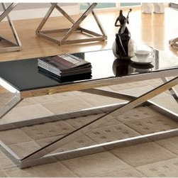 Furniture of America Bellegra Rectangular Beveled Tempered Glass Coffee Table - - The Furniture of America Bellegra Rectangular Beveled Tempered Glass Coffee Table - Chrome / Black is practical modern art for your living space. This coffee table features a geometric polished chrome frame crowned with an 8mm black tempered glass top with beveled edge.About Enitial LabBased in California, Enitial Lab has established itself as a premier provider of fine home furnishings. The people behind Enitial Lab brand are moved by passion, hard work, and persistence. They're always striving to design the latest piece, keeping in mind their mission to make quality furniture available to urban-minded shoppers, without compromising the packaging integrity. Enitial Lab offers unique, coordinated, and affordably designed furniture; they're a one-step resource in the furniture industry for both high-quality pieces as well as secure and professional packaging.