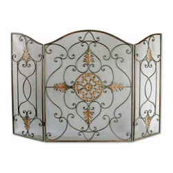 Uttermost - Uttermost Egan Fireplace Screen in Brown - This attractive fireplace screen is made of wrought iron. The dark brown basecoat is covered with a semi-transparent dark gray wash and a tan glaze. The perfect finishing touch to a fireplace.