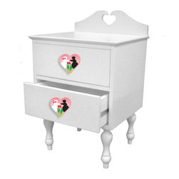 "Room Magic - Poodles Nightstand - Our Poodles in Paris nightstand is adorable and well made. French colonial style made with solid wood with a white finish, with turned legs and a heart shape back piece. Includes set of 2 pink heart shaped knobs with 2 poodles rubbing noses. Quality drawer glides and finished back. 18""W, 16""D, 28""H ."