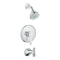 Grohe - Grohe Parkfield Pressure Balance Tub/Shower Trim w/ Multi Function Shower Head - Product Features:Fully covered under Grohe's limited lifetime warrantyPremier finishing process - finishes will resist rusting and corrosion through every day useGrohe faucets are exclusively engineered in GermanyThe perfect synthesis of form and functionMulti-function water jet shower headPressure balancing valve cartridgeShower Package Includes: Shower head, shower arm, wall flange, valve trim, and tub spoutDesigned to easily install with standard U.S. plumbing connectionsADA compliantAll hardware required for installation is includedProduct Technologies / Benefits:Starlight Finish: Continuously improving over the last 70 years Grohe�s unique plating process has been refined to produce and immaculate shiny surface that is recognized as one of the best surface finishes the world over. Grohe plates sub layers of copper and/or nickel to ensure that a completely non-porous, immaculate surface awaits the chrome layer. This deep, even layered chrome surface creates a luminous and mirror like sheen.DreamSpray: The exceptional quality, precision and sheer number of internal parts set these Grohe showers apart from the competition. This unique design distributes the same amount of water to each and every nozzle, resulting in an even spray. So whatever spray pattern suits your mood, it is guaranteed that it will be an all-around exhilarating experience.SpeedClean: Never letting hard-water or grime stop you from enjoying your showerhead to the fullest. Showerheads with Grohe�s SpeedClean technology have spray nozzles made of high quality silicon material. A simple wipe of a finger ensures a like-new water flow. Yet another way Grohe ensures you make the most of your water experience.CoolTouch: With this technology from Grohe the entire outer surface of the thermostat will never exceed the temperature of the shower water. An innovative cooling channel and special couplings where the hot w