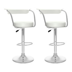 Sonax - Sonax CorLiving Open Back Adjustable Bar Stool in White Leatherette (Set of 2) - Sonax - Bar Stools - B117UPD - Add spice to any bar or kitchen island with the barstool featuring a round seat and a stylish curved backrest. Comfortable foam covered with Soft White leatherette upholstery, chrome arm rests, chrome gas lift and chrome support give this chair a smart comfortable look. The contemporary design will accent any decor setting while offering the option to adjust to variable bar heights with ease. A great addition to any home!