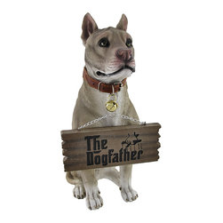 Zeckos - Bark Off! Cute Pit Bull Un-welcome Statue Dog - This incredibly cute pit bull terrier lawn / garden statue can help your neighbors, mailman, salesmen, etc. understand what kind of mood you're in. On good days, turn the sign hanging from the dog's mouth to read 'The Dogfather'. On bad days, turn it around, and it reads 'Bark Off'. The figure measures 14 inches tall, 5 inches wide and 8 1/2 inches deep. Made of extremely durable bonded marble resin, this figure is fade and breakage resistant. It makes a great gift for pit bull lovers.
