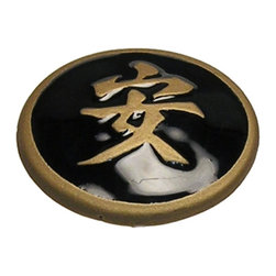 """Anne At Home - 1 3/4"""" Tranquility Black/Gold Epoxy Knob (Set of 10) - Hand cast and finished. Made in the USA. Pewter & Epoxy with brass insert. Collection: Asian. 1.75 in. L x 1.75 in. W x 0.75 in. H"""