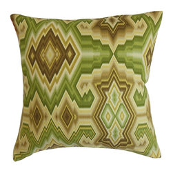 """The Pillow Collection - Ruairi Geometric Pillow Green Tea 20"""" x 20"""" - This vibrant decor pillow will surely bring a fresh vibe to your interiors. The geometric pattern showcases a bold design in shades of green, brown and yellow. Decorate this square pillow anywhere inside your home for an effortlessly chic look. Pair this accent pillow with a matching pattern or solids for dimension and texture. Crafted from 100% durable and high-quality cotton material. Hidden zipper closure for easy cover removal.  Knife edge finish on all four sides.  Reversible pillow with the same fabric on the back side.  Spot cleaning suggested."""