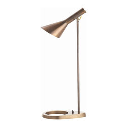 Arteriors - Wilton Desk Lamp - This desk lamp allows you to shine light on the task at hand. Finished in vintage brass, it has an open base and a turn switch.