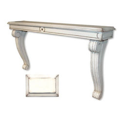 Tradewinds - Cottage Wall Mantle Console, Bone - Add this Bordeaux wall matle/console that can be adjusted well to custom fit above the fireplace and to position it along the wall studs. Made of fine-quality material, it can be hung at table, bar, counter or mantle height.