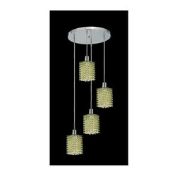 Elegant Lighting - Mini Peridot Crystal Pendant w 4 Lights in Chrome (Strass Swarovski) - Choose Crystal: Strass Swarovski. 3 ft. Chain/Wire Included. Bulbs not included. Crystal Color: Lt. Peridot (Light Green). Chrome finish. Number of Bulbs: 4. Bulb Type: GU10. Bulb Wattage: 55. Max Wattage: 220. Voltage: 110V-125V. Assembly required. Meets UL & ULC Standards: Yes. 26 in. D x 8 to 48 in. H (12lbs.)Description of Crystal trim:Royal Cut, a combination of high quality lead free machine cut and machine polished crystals & full-lead machined-cut crystals..SPECTRA Swarovski, this breed of crystal offers maximum optical quality and radiance. Machined cut and polished, a Swarovski technician¢s strict production demands are applied to this lead free, high quality crystal.Strass Swarovski is an exercise in technical perfection, Swarovski ELEMENTS crystal meets all standards of perfection. It is original, flawless and brilliant, possessing lead oxide in excess of 39%. Made in Austria, each facet is perfectly cut and polished by machine to maintain optical purity and consistency. An invisible coating is applied at the end of the process to make the crystal easier to clean. While available in clear it can be specially ordered in a variety of colors.Not all trims are available on all models.