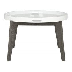 Safavieh - Echo Lacquer End Table - Ready for a party or movie night munchies, the Echo end table is a silent butler for your home with removable white lacquer tray atop a dark brown grained base. Good looking and hard-working, this clean-lined table is styled for contemporary rooms.
