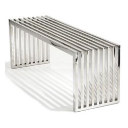 Lemoderno - Fine Mod Imports  Zeta Stainless Steel Bench Long, Silver - Polished Stainless Steel Bench features a contemporary style, which is illustrated by its stylish, identical pieces of polished stainless steel. The beautiful part of polished stainless steel bench is that there are no screws or visible connectors. This piece can function as modern coffee table, bench and extra seating. Contemporary and classic design makes a strong design statement. Polished stainless steel construction Multifunctional and perfect for both residential and commercial projects. Fully Assembled Linear-lined design Stainless steel Polished bench Indoor use only  Assembled