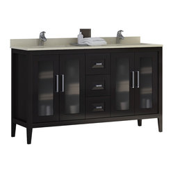Macral - Madrid Double Sink Vanity - Make your master bathroom majestic with this double sink vanity. Featuring espresso solid wood elegantly accented by a cream marfil quartz countertop, this large contemporary vanity makes it a pleasure to share your bathroom with the one you love.