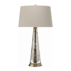 """Arteriors - Arteriors Home - Silver Camel Tapered  Brass Lamp - 44449-149 - Arteriors Home - Silver Camel Tapered Brass Lamp - 44449-149 Features: Tapered Brass LampTapered glass table lamp in a silver/gold iridescent finish and sits on a round brass baseTopped with khaki shade with beige leopard print lining Some Assembly Required. Dimensions: H 27"""" x 15"""" Dia"""