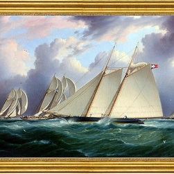 """James E Buttersworth-16""""x24"""" Framed Canvas - 16"""" x 24"""" James E Buttersworth Yacht 'Orion' framed premium canvas print reproduced to meet museum quality standards. Our museum quality canvas prints are produced using high-precision print technology for a more accurate reproduction printed on high quality canvas with fade-resistant, archival inks. Our progressive business model allows us to offer works of art to you at the best wholesale pricing, significantly less than art gallery prices, affordable to all. This artwork is hand stretched onto wooden stretcher bars, then mounted into our 3"""" wide gold finish frame with black panel by one of our expert framers. Our framed canvas print comes with hardware, ready to hang on your wall.  We present a comprehensive collection of exceptional canvas art reproductions by James E Buttersworth."""