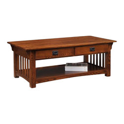 "Leick Furniture - Leick Furniture Mission Coffee Table with Drawers and Shelf in Oak - Leick Furniture - Coffee Tables - 8204 A high quality classic Mission design with blackened ironware, slatted elements, and corbel supported overhanging tops make this the ultimate mission coffee table. Deep drawers conveniently holds miscellaneous items, including remote controls leaving the table clutter-free. The solid Ash wood construction with rich Oak wood veneers will last for years to come. With the beautiful hand applied multi-step Medium Oak Finish and solid wood dovetail drawers, this coffee table will be the pride of your living space. Dimensions: 48""W x 24""D x 19""H"