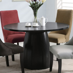 Coaster - Amhurst Collection Black Satin Dining Table - With a self-assured elegance, the Amhurst collection captures the aura of classic casual dining. Made of Ash veneers in a black satin finish. Chairs feature a gentle curved back and are available in 4 color options.