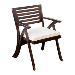 Great Deal Furniture - Riverdale Mahogany Accent Chair - Accentuate your living room or patio area with this sleek wooden armchair. The rich mahogany color paired with the modern lines of the chair back add a sophisticated twist to your indoor or outdoor decor. This chair comes with a square beige cushion that adds comfort and class.