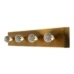 MarktSq - Wooden Hook Rack With Resin Knobs (4) - This custom made wooden hook rack is made of seasoned wood and has been fitted with five intricately carved resin knobs that can be used to hang items on. The wood has been polished and lacquered.