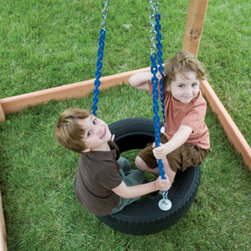"""Kids Creations - Plastic Tire Swing - Features: -Tire swing. -Swing set accessory. -Tire made from plastic composite material which helps it stay cool to the touch. -Tire swing, Swivel hanger, 3-point chain system. -Durable plastic construction and metal. -3-point 42-inch chain system. -Plastisol-coated chains for safety and comfort. -Three-year manufacturers warranty. -Diameter: 48""""."""