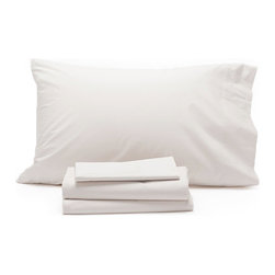 Coyuchi Organic Cotton 220 Percale Sheet Set King White - Pure organic cotton in a classic percale weave makes these sheets a must-have for any linen closet. Wonderfully crisp, yet soft on the skin, they're perfect for warm nights-or warm sleepers. Destined to get smoother and softer with every wash, they are woven to a durable 220 thread count. Flat sheet has a 4 self-hem. Fitted sheet has a deep 15 pocket and full elastic around the bottom. Set includes one fitted sheet, one flat sheet, and two pillowcases.  Dimensions: Fitted Sheet – King, 78 x 80 x 15  Flat Sheet – King, 108 x 106 Pillowcase Set of 2 –  King, 20 x 40  Care: All of our cotton & linen products are machine washable. We recommend using warm water and non-phosphate soap in the washing cycle, with a cool, tumble or line dry. The use of bleaching agents may diminish the brilliance and depth of the colors, so we recommend not using any whiteners.