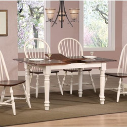 Sunset Trading - Sunset Trading 5 pc. Butterfly Dining Set with Spindleback Chairs - Antique Whit - Shop for Dining Sets from Hayneedle.com! The Sunset Trading 5 pc. Butterfly Dining Set with Spindleback Chairs - Antique White brings old-fashioned comfort to your dining area. The solid hand-crafted hardwood table features a built-up edge an extra-thick tabletop and perfectly carved turned legs. The self-storing 12-inch butterfly leaf extends the length from 48 inches to 60 inches. The set also includes four spindleback chairs with curved comfortable backs and scooped seats. The table and chairs are all made from eco-friendly Asian Ramon hardwood and finished in an antique white color. Table dimensions: 48-60L x 36W x 30H inches. Chair dimensions: 22W x 20.5D x 41H inches.About Sunset TradingThis product is designed and manufactured by Sunset Trading. Located in Londonderry New Hampshire Sunset Trading creates high quality furniture for bedrooms living and dining rooms. Their furniture features side roller drawer guides four corner English dovetails solids and veneers. Dining rooms feature epoxy resin constructed chairs with metal support brackets which make their chairs 100 times stronger than glued chairs. Rest assured you're making an excellent choice when you purchase a fine furniture item from Sunset Trading.