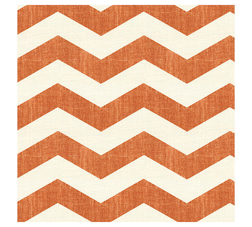 Orange & White Chevron Linen Fabric - Graphic chevron in a washed pumpkin orange & ivory on lightweight linen adds a punch of color to the contemporary home.Recover your chair. Upholster a wall. Create a framed piece of art. Sew your own home accent. Whatever your decorating project, Loom's gorgeous, designer fabrics by the yard are up to the challenge!
